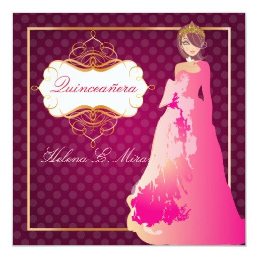 Formal Quinceañera/Quince años princess 13 Cm X 13 Cm Square Invitation Card