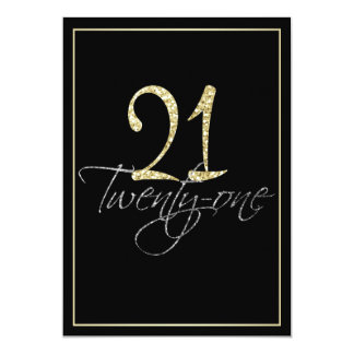 Formal Silver Black and Gold 21st Birthday Party 13 Cm X 18 Cm Invitation Card