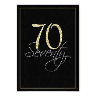Formal Silver Black and Gold 70th Birthday Party 11 Cm X 16 Cm Invitation Card