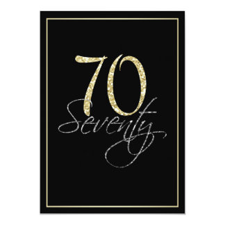 Formal Silver Black and Gold 70th Birthday Party 13 Cm X 18 Cm Invitation Card