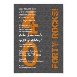 Forty Rocks! 40th Birthday Gray Stars Orange Personalized Invite