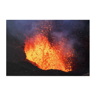 Fountain of lava erupting from crater volcano acrylic print