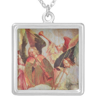 Four angels playing instruments silver plated necklace