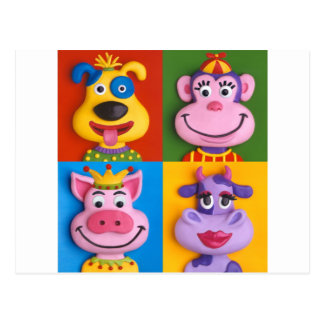 Four Animal Faces Postcard