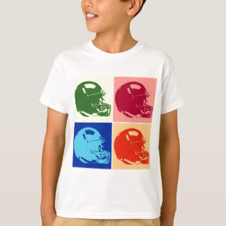 Four Color Pop Art Football Helmet T-Shirt