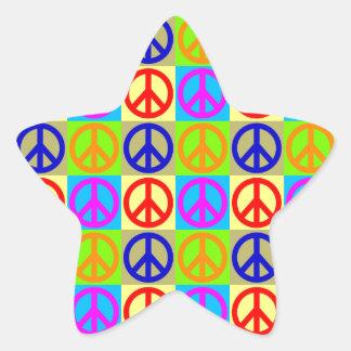 Four Color Pop Art Peace Sign Star Sticker