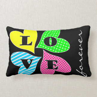 Four Colored Hearts Throw Cushions