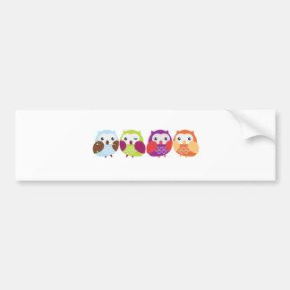 Four Colorful Owls Bumper Sticker