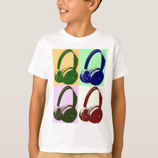 Four Colors Pop Art Headphones T-Shirt