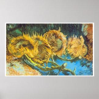 Four Cut Sunflowers by Vincent van Gogh Poster