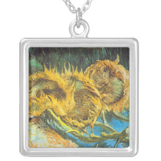 Four Cut Sunflowers by Vincent van Gogh Silver Plated Necklace