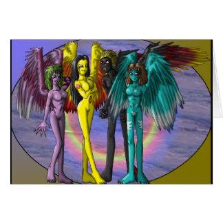 Four Demons Greetings card