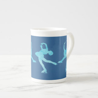 Four Figure Skaters in Cool Blue Tea Cup
