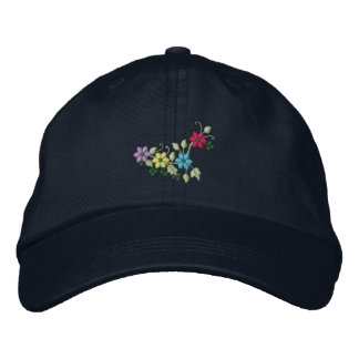 Four flowers and foliage women's embroidered hat