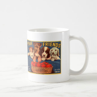 Four Friends Vintage Tomato Crate Label Dogs Coffee Mugs