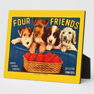 Four Friends Vintage Tomato Crate Label Dogs Plaque