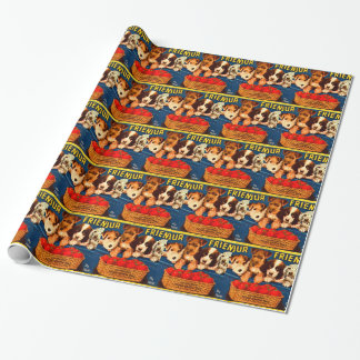Four Friends Vintage Tomato Crate Label Dogs Gift Wrapping Paper