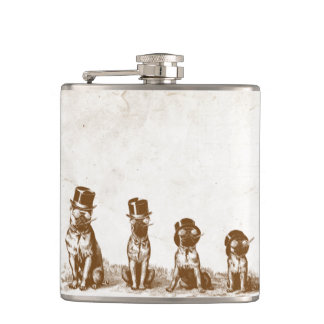 Four Grumpy Hipster Bull Dogs Vintage Sepia Art Flasks