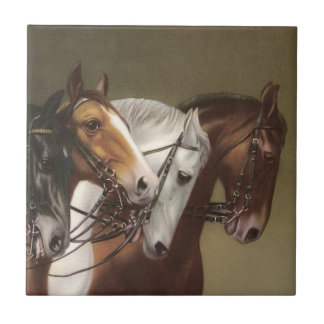 Four Horses Vintage Art Feature Tile