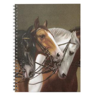 Four Horses Vintage Art Notebook Stationary