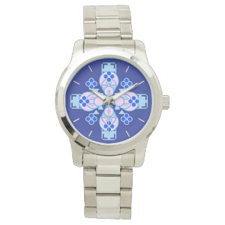 Four point Mandala - orchid, blue and cobalt Watch