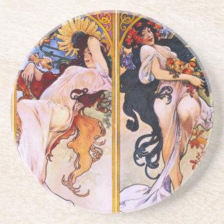 Four Seasons Alfons Mucha Drink Coasters