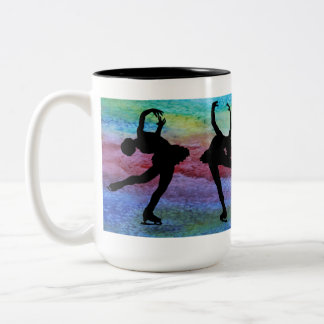 Four Spinning Figure Skaters Two-Tone Coffee Mug