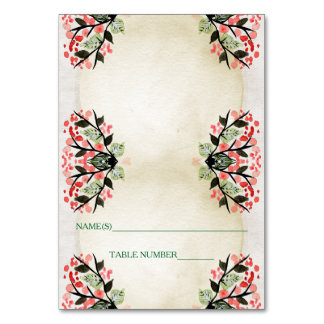 Four Watercolor Bouquets - Escort Card Table Card