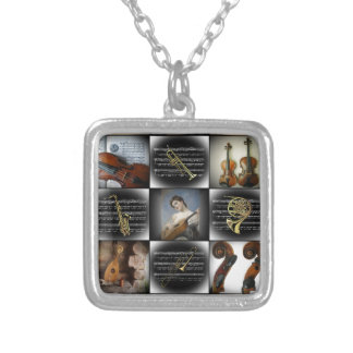 Four Works of Art ~ Various Musical Instruments Silver Plated Necklace