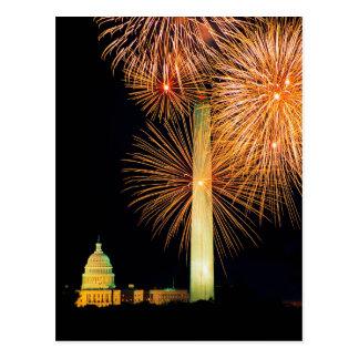 Fourth of July, Firework Display, Skyline Postcard