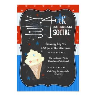 Fourth of July Ice Cream Social 13 Cm X 18 Cm Invitation Card