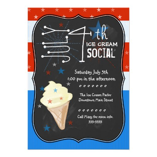 Fourth of July Ice Cream Social Cards