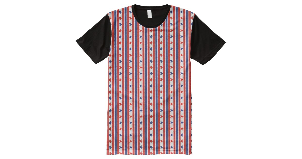 Fourth of july red blue stripes and stars all over print for Vista print tee shirt