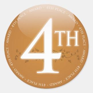 Fourth Place (4th) Award Classic Round Sticker