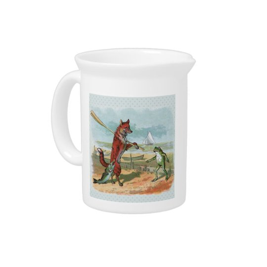fox and frog vintage going fishing beverage pitcher