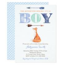 fox baby shower invites, boy fall baby sprinkle 13 cm x 18 cm invitation card