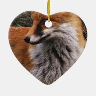 Fox Ceramic Heart Decoration