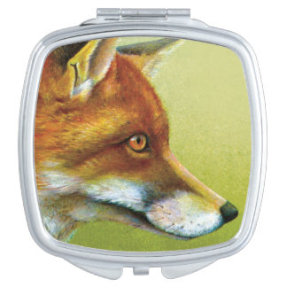 Fox fine art painting mirror compact