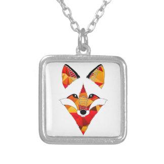 Fox Fire Square Pendant Necklace