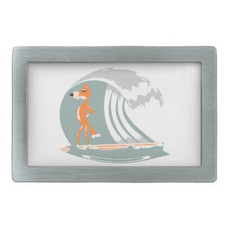 Fox Standing on a Surfboard Belt Buckles