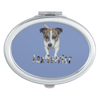 Fox Terrier And Fox Terrier Logo, Blue Oval Travel Mirror