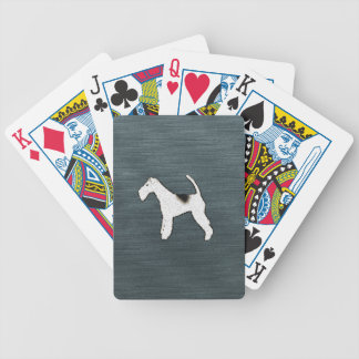 Fox Terrier Dog on Gray Blue Bicycle Playing Cards