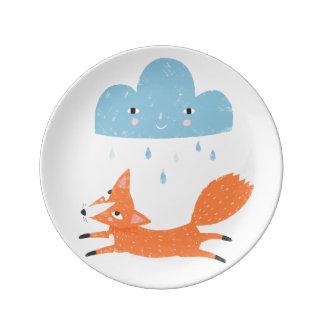 Fox with rain cloud porcelain plates