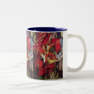 Foxes by Franz Marc, Vintage Abstract Cubism Art Two-Tone Coffee Mug