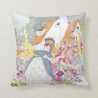 Foxglove Garden Cottage and Handcart Throw Pillow