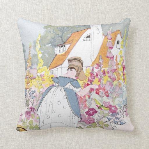 Foxglove Garden, Cottage and Handcart Throw Pillow