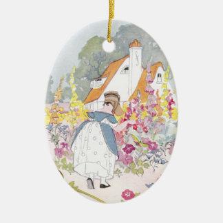 Foxglove Garden, Cottage and Handcart Christmas Tree Ornament