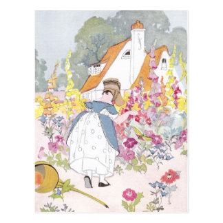 Foxglove Garden, Cottage and Handcart Post Card
