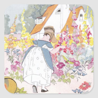 Foxglove Garden, Cottage and Handcart Square Stickers
