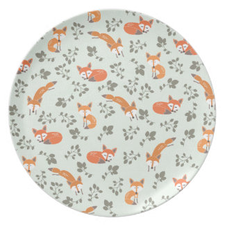 Foxy Floral Pattern Plate
